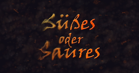 dissolving: Susses oder Saures (Trick or Treat) German text dissolving into dust from left