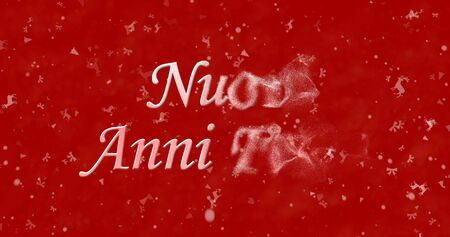 turns of the year: Happy New Year text in Italian Nuovi anni felici turns to dust from right on red background