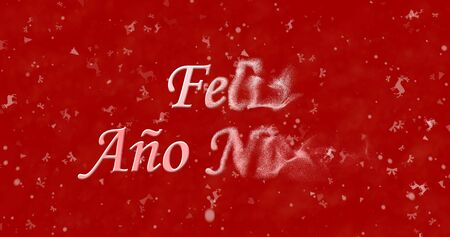 turns of the year: Happy New Year text in Spanish Feliz ano nuevo turns to dust from right on red background