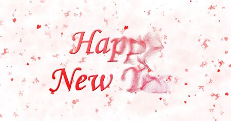 turns of the year: Happy New Year text turns to dust from right on white background