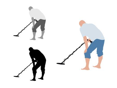 Man avec des shorts à l'aide de détecteurs de métaux à pied nu
