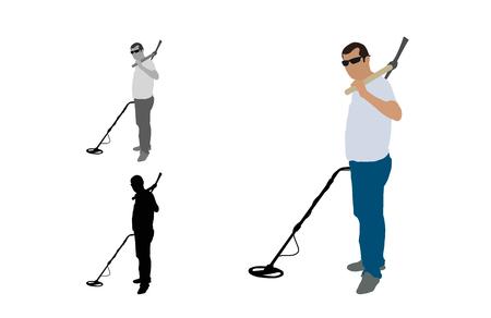 Vista laterale di un uomo che guarda la fotocamera in piedi con un rivelatore e un piccone in spalla