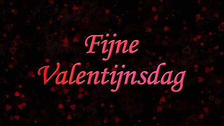 nederland: Happy Valentines Day text in Dutch Fijne Valentijnsdag on black background with hearts and roses