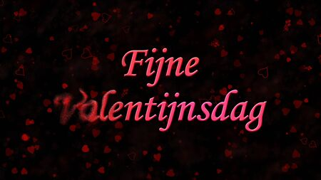 nederland: Happy Valentines Day text in Dutch Fijne Valentijnsdag turns to dust horizontally from left on black background with hearts and roses