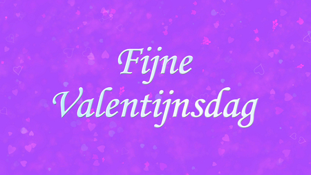 nederland: Happy Valentines Day text in Dutch Fijne Valentijnsdag on purple background with hearts and roses