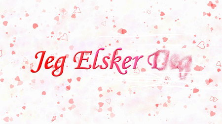deg: I Love You text in Norwegian Jeg Elsker Deg turns to dust horizontally from right with moving stripes on white background with hearts and roses