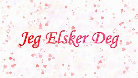 deg: I Love You text in Norwegian Jeg Elsker Deg on white background with hearts and roses Stock Photo