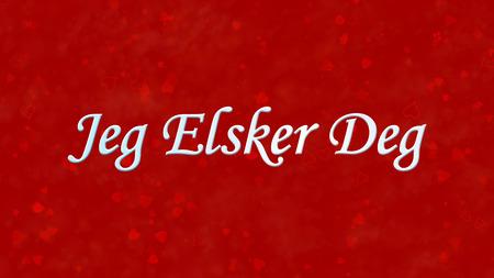 deg: I Love You text in Norwegian Jeg Elsker Deg on red background with hearts and roses