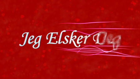 deg: I Love You text in Norwegian Jeg Elsker Deg turns to dust horizontally from right with moving stripes on red background with hearts and roses Stock Photo