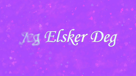 deg: I Love You text in Norwegian Jeg Elsker Deg turns to dust horizontally from left on purple background with hearts and roses Stock Photo