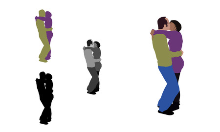 innamorati che si baciano: Realistic flat colored, greyscale and silhouette illustration of a french kissing couple