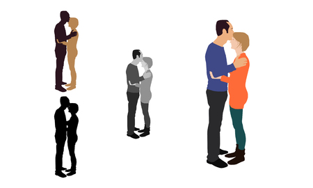Realistic flat colored, greyscale and silhouette illustration of a man kissing his partner from her forehead. Illustration