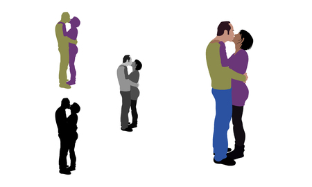 Realistic flat colored, greyscale and silhouette illustration of a french kissing couple