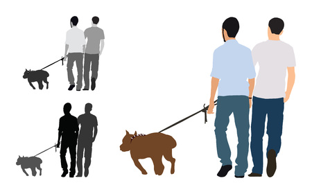 Realistic flat colored illustration of two men walks a staffordshire bull terrier dog Stock Illustratie
