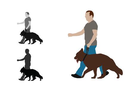 Realistic flat colored illustration of a man walks a german shepherd dog