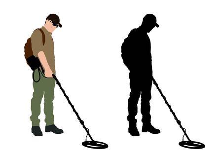 Hombre con detector de metales con mochila Ilustración de vector