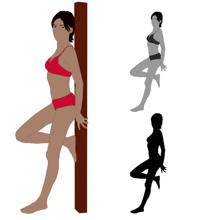 Realistic flat colored illustration of a young leaning Sexy woman Иллюстрация