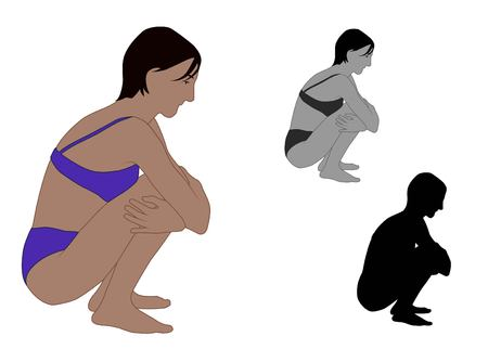 Realistic flat colored perspective illustration of a young woman crouching on the ground
