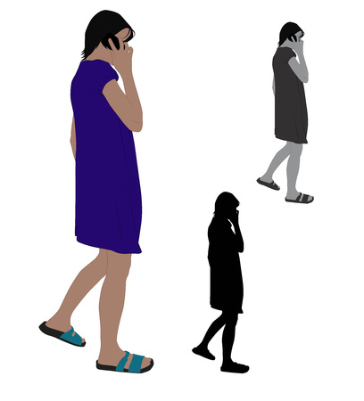 Realistic flat colored illustration of a woman talking on a mobile phone