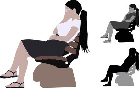 Realistic flat colored illustration of a young business woman sitting a bench in Park