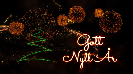 Happy New Year text in Swedish 'Gott Nytt Ar' over pine tree with sparkling particles and fireworks on a snowy background