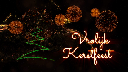 Merry Christmas text in Dutch 'Vrolijk Kerstfeest' over pine tree with sparkling particles and fireworks on a snowy background Reklamní fotografie