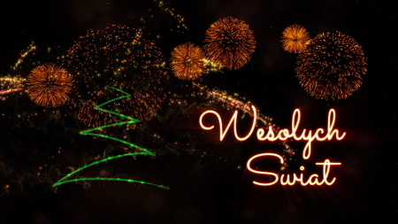Merry Christmas text in Polish 'Wesolych Swiat' over pine tree with sparkling particles and fireworks on a snowy background Standard-Bild