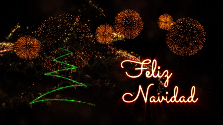 Merry Christmas text in Spanish 'Feliz Navidad' over pine tree with sparkling particles and fireworks on a snowy background