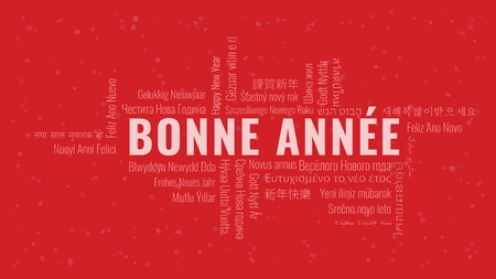 Happy New Year text in French 'Bonne Annee' with word cloud in many languages on a red snowy background