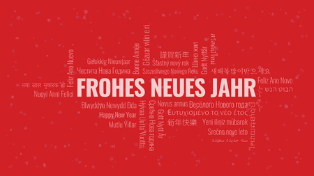 Text Happy New Year in German Frohes Neues Jahr