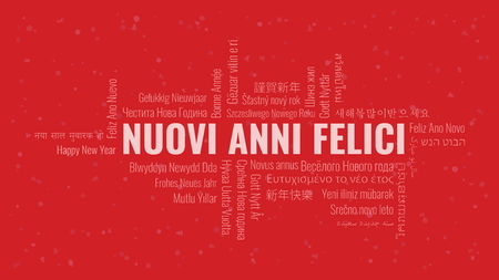 Happy New Year text in Italian 'Nuovi Anni Felici' with word cloud in many languages on a red snowy background Ilustrace