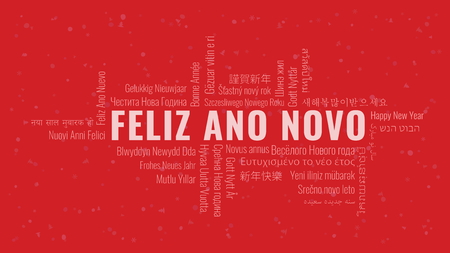 Happy New Year text in Portuguese 'Feliz Ano Novo' with word cloud in many languages on a red snowy background Ilustrace