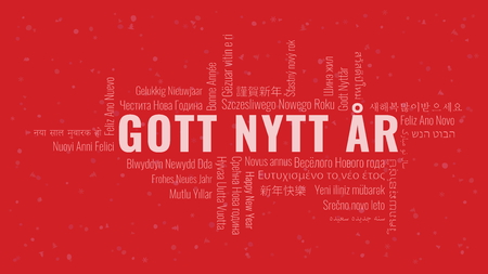 Happy New Year text in Swedish 'Gott Nytt Ar' with word cloud in many languages on a red snowy background Ilustrace