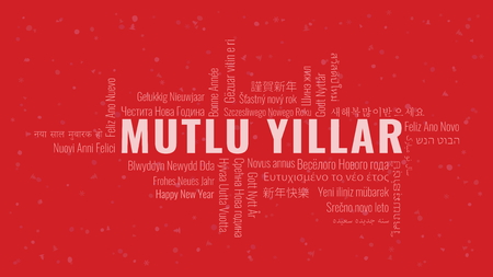 Happy New Year text in Turkish 'Mutlu Yillar' with word cloud in many languages on a red snowy background