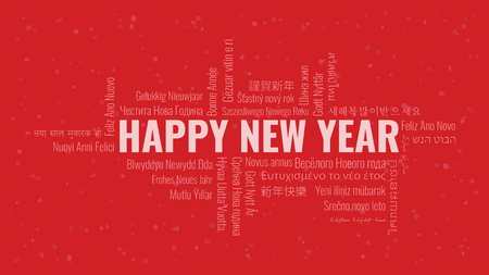 Happy New Year text with word cloud in many languages on a red snowy background