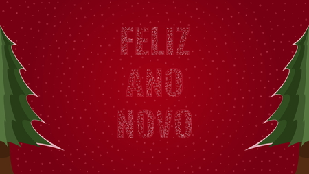 Happy New Year text in Portuguese Feliz Ano Novo filled with Happy New Year text in many different laguages on a red snowy background with pine trees on sides