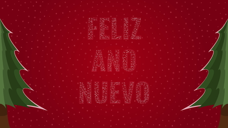 Happy New Year text in Spanish Feliz Ano Nuevo filled with Happy New Year text in many different laguages on a red snowy background with pine trees on sides Illustration