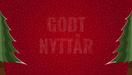 Happy New Year text in Norwegian Godt Nyttar filled with Happy New Year text in many different laguages on a red snowy background with pine trees on sides
