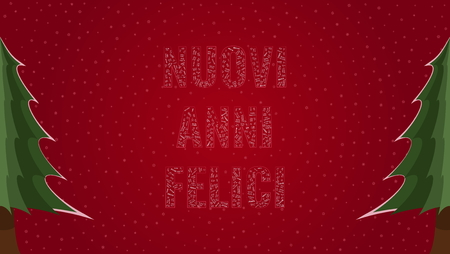 Happy New Year text in Italian 'Nuovi Anni Felici' filled with 'Happy New Year' text in many different laguages on a red snowy background with pine trees on sides Stock Illustratie