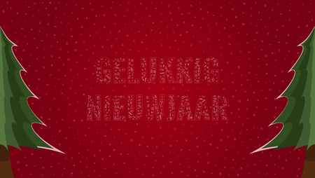 Happy New Year text in Dutch Gelukkig Nieuwjaar filled with Happy New Year text in many different laguages on a red snowy background with pine trees on sides Illustration