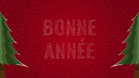 Happy New Year text in French Bonne Annee filled with Happy New Year text in many different laguages on a red snowy background with pine trees on sides