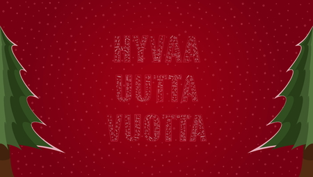 Happy New Year text in Finnish Hyvaa Uutta Vuotta filled with Happy New Year text in many different laguages on a red snowy background with pine trees on sides