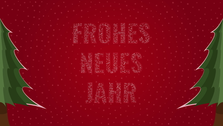 Happy New Year text in German Frohes Neues Jahr filled with Happy New Year text in many different laguages on a red snowy background with pine trees on sides