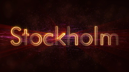 Stockholm - Sweden city name text animation - Shiny rays looping on edge of text over a background with swirling and flowing stars