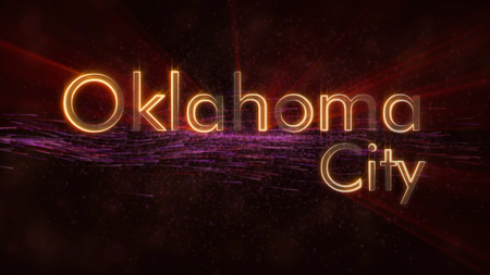 Oklahoma City - United States city name text animation - Shiny rays looping on edge of text over a background with swirling and flowing stars