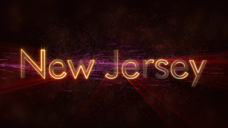 New Jersey - United States state name text animation - Shiny rays looping on edge of text over a background with swirling and flowing stars