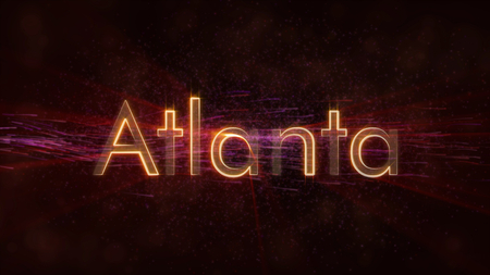 Atlanta - United States city name text animation - Shiny rays looping on edge of text over a background with swirling and flowing stars Reklamní fotografie