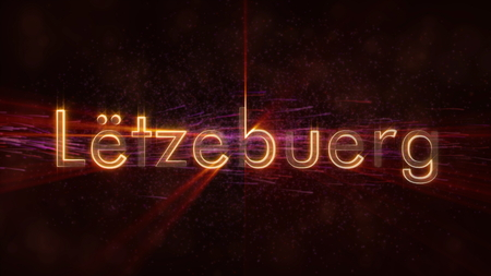 Luxembourg in local language Letzebuerg - Shiny rays on edge of country name text over a background with swirling and flowing stars