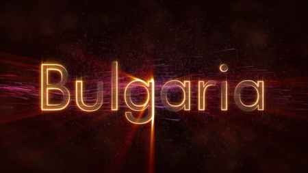 Bulgaria - Shiny rays on edge of country name text over a background with swirling and flowing stars