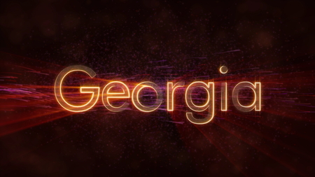 Georgia - Shiny rays on edge of country name text over a background with swirling and flowing stars Фото со стока